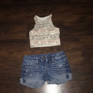 Aeropostale crop top & American Eagle shorts set